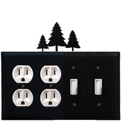 Wrought Iron Pine Trees Combination Cover - Double Outlet with Double Switch