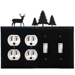 Wrought Iron Deer Combination Cover - Double Outlet with Double Switch Pine Trees