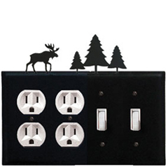 Wrought Iron Moose Combination Cover - Double Outlet with Double Switch Pine Trees