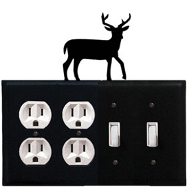 Wrought Iron Deer Combination Cover - Double Outlet with Double Switch