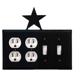 Wrought Iron Star Combination Cover - Double Outlet with Double Switch