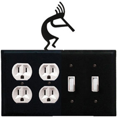 Wrought Iron Kokopelli Combination Cover - Double Outlet with Double Switch
