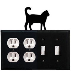 Wrought Iron Cat Combination Cover - Double Outlet with Double Switch