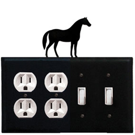 Wrought Iron Horse Combination Cover - Double Outlet with Double Switch