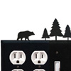 Wrought Iron Bear Combination Cover - Double Outlet with Double Switch Pine Trees