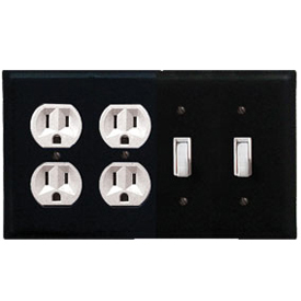 Wrought Iron Plain Combination Cover - Double Outlet with Double Switch