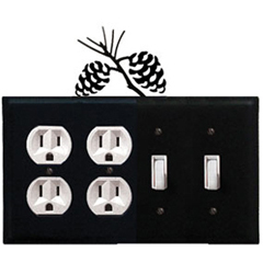Wrought Iron Pinecone Combination Cover - Double Outlet with Double Switch