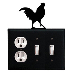 Wrought Iron Rooster Single Outlet and Single Switch Combination Cover