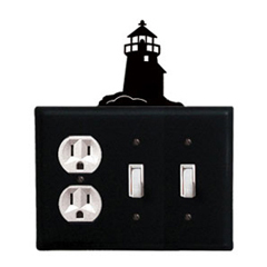 Wrought Iron Lighthouse Combination Cover - Single Outlet with Double Switch