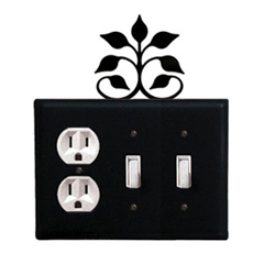 Wrought Iron Leaf Fan Combination Cover - Single Outlet with Double Switch