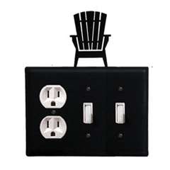 Wrought Iron Adirondack Combination Cover - Single Outlet with Double Switch