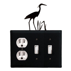 Wrought Iron Heron Combination Cover - Single Outlet with Double Switch