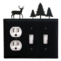 Wrought Iron Deer Combination Cover - Single Outlet with Double Switch Pine Trees