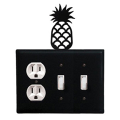 Wrought Iron Pineapple Combination Cover - Single Outlet with Double Switch