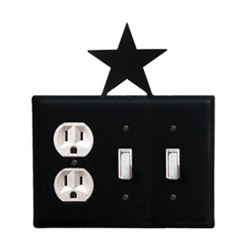Wrought Iron Star Combination Cover - Single Outlet with Double Switch