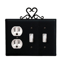 Wrought Iron Heart Combination Cover - Single Outlet with Double Switch