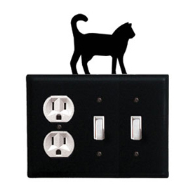 Wrought Iron Cat Combination Cover - Single Outlet with Double Switch