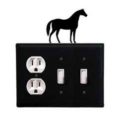Wrought Iron Horse Combination Cover - Single Outlet with Double Switch