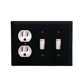 Wrought Iron Plain Combination Cover - Single Outlet with Double Switch