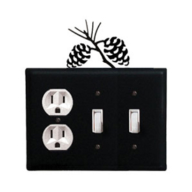 Wrought Iron Pinecone Combination Cover - Single Outlet with Double Switch
