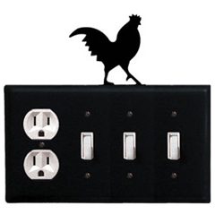 Wrought Iron Rooster Combination Cover - Single Outlet with Triple Switch