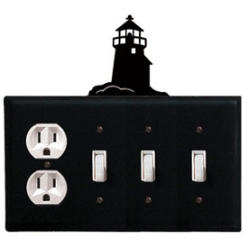 Wrought Iron Lighthouse Combination Cover - Single Outlet with Triple Switch