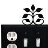 Wrought Iron Leaf Fan Combination Cover - Single Outlet with Triple Switch