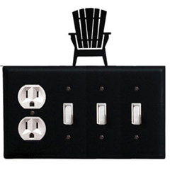 Wrought Iron Adirondack Combination Cover - Single Outlet with Triple Switch