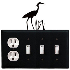 Wrought Iron Heron Combination Cover - Single Outlet with Triple Switch