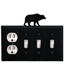 Wrought Iron Bear Combination Cover - Single Outlet with Triple Switch