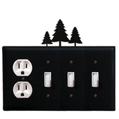 Wrought Iron Pine Trees Combination Cover - Single Outlet with Triple Switch