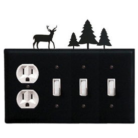Wrought Iron Deer Combination Cover - Single Outlet with Triple Switch Pine Trees