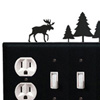 Wrought Iron Moose Combination Cover - Single Outlet with Triple Switch Pine Trees