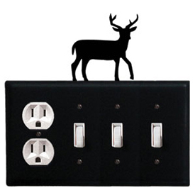 Wrought Iron Deer Combination Cover - Single Outlet with Triple Switch