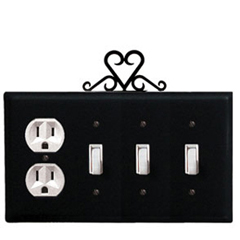 Wrought Iron Heart Combination Cover - Single Outlet with Triple Switch
