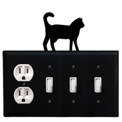 Wrought Iron Cat Combination Cover - Single Outlet with Triple Switch