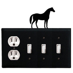 Wrought Iron Horse Combination Cover - Single Outlet with Triple Switch