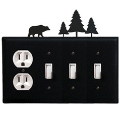 Wrought Iron Bear Combination Cover - Single Outlet with Triple Switch Pine Trees