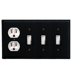 Wrought Iron Plain Combination Cover - Single Outlet with Triple Switch