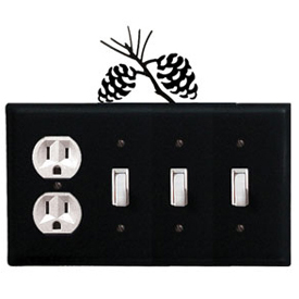 Wrought Iron Pinecone Combination Cover - Single Outlet with Triple Switch