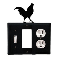 Wrought Iron Rooster Combination Cover - Switch, GFI and Outlet