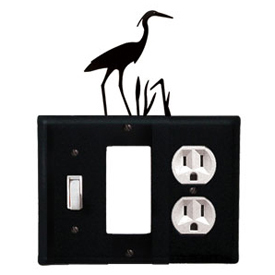 Wrought Iron Heron Combination Cover - Switch, GFI and Outlet
