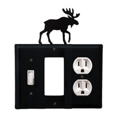 Wrought Iron Moose Combination Cover - Switch, GFI and Outlet