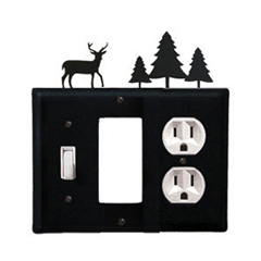 Wrought Iron Deer Combination Cover - Switch, GFI and Outlet Pine Trees