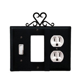 Wrought Iron Heart Combination Cover - Switch, GFI and Outlet