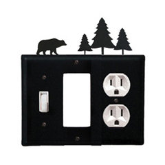 Wrought Iron Bear Combination Cover - Switch, GFI and Outlet Pine Trees