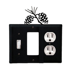Wrought Iron Pinecone Combination Cover - Switch, GFI and Outlet