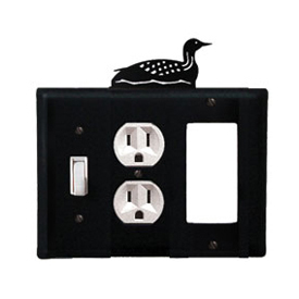 Wrought Iron Loon Combination Cover - Switch, Outlet and GFI