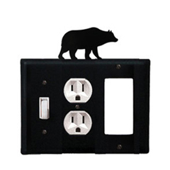 Wrought Iron Bear Combination Cover - Switch, Outlet and GFI