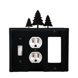 Wrought Iron Pine Trees Combination Cover - Switch, Outlet and GFI